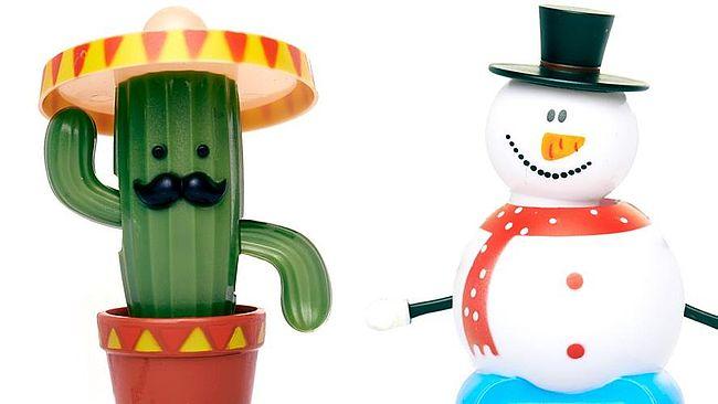 Kaktus- und Schneemannwackelfigur