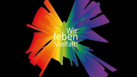 """Bunte Grafik mit Slogan """"Wir leben Vielfalt"""""""