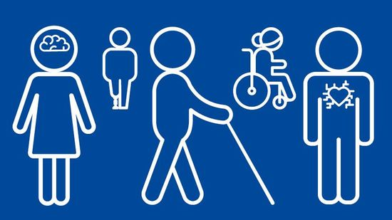 diverse Icons zum Thema Behinderung