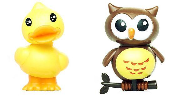 Wackelfiguren Ente und Eule